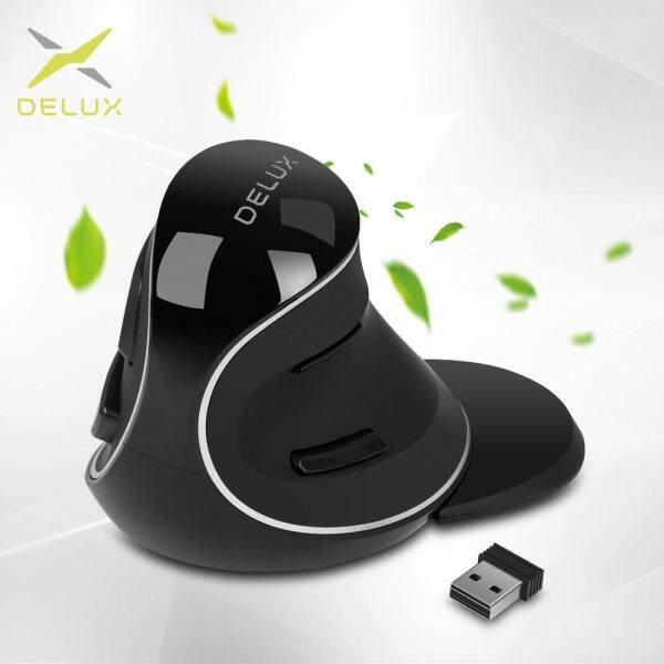 Delux M618 Plus Ergonomic Vertical Wireless Mouse 800/1200/1600 DPI 6 Function Buttons Optical Mice with Removable Palm Rest Malaysia