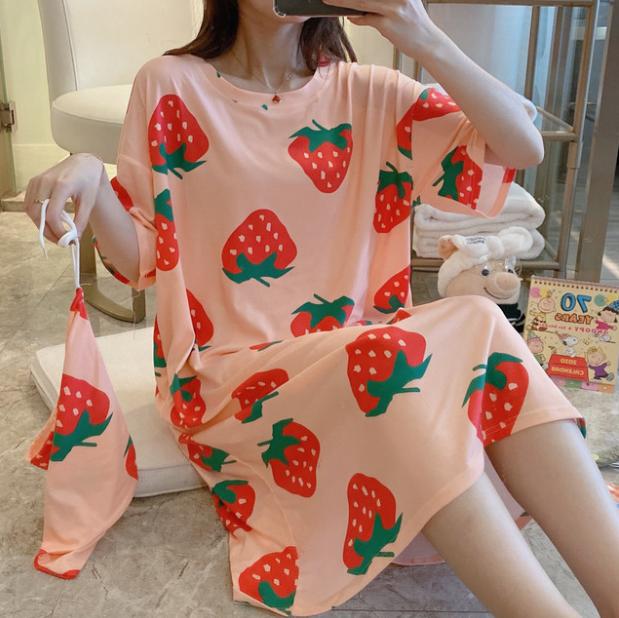 Phụ Nữ Bộ Đồ Ngủ Ngắn Tay Ngọt Ngào Dễ Thương Lỏng Lẻo Homewear Đầm Bầu