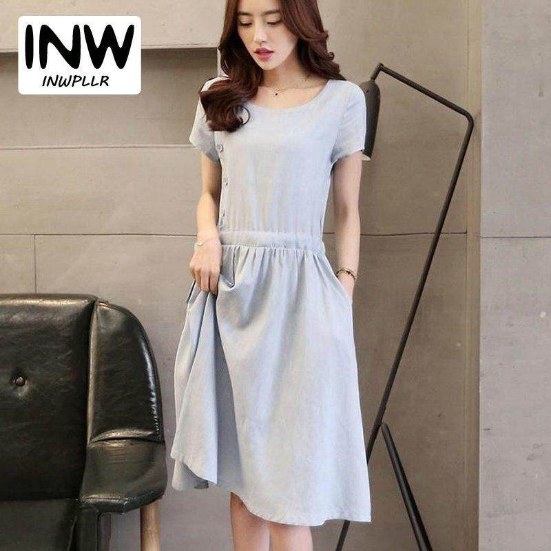 a3462f3bf286 INWPLLR New Fashion Summer Dress Women Casual Short Sleeve Cotton Linen  Dresses Korean-style Plain