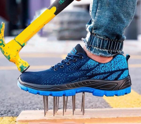 🔥 Steel Toe Cap 🔥 Work Safety Shoes Low-Cut Fashion Flyweave 212 Blue