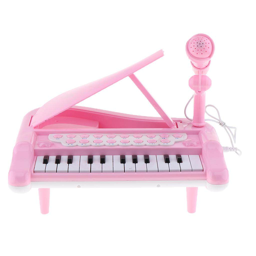 Magideal Kids Electronic Keyboard Mini Piano Stool Microphone Musical Toy Gift Pink By Magideal.