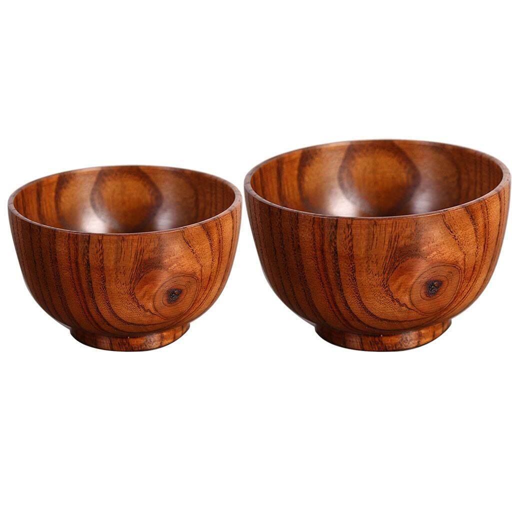 BolehDeals 2pack Solid Wooden Bowl Round Food Serving Bowl for Rice, Soup, Decoration
