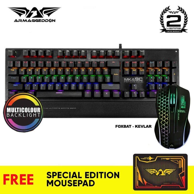Armaggeddon MKA-9C Mechanical Gaming Keyboard and Foxbat Wireless 2.4G Gaming Mouse Combo [Free Gift] Malaysia