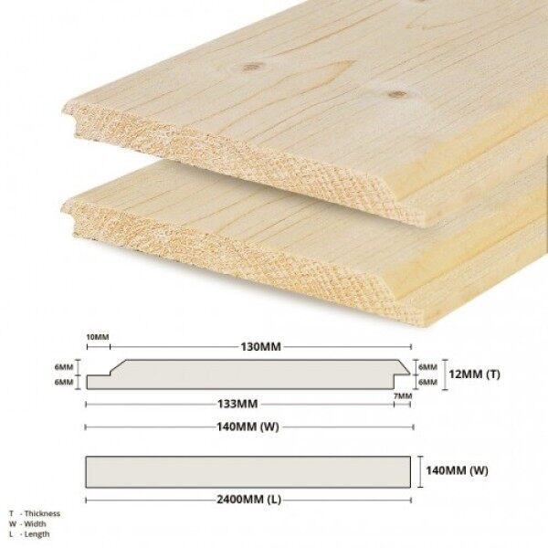 Pine Wood Timber Shiplap Panelling Board Smooth Planed Surfaced Four Sides (S4S) 12MM (T) x 140MM (W) x 2400MM (L)