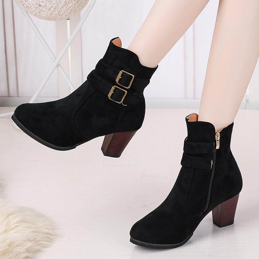 d6378935062ddf Women's Rome Plus Size Side Zipper With Belt Buckle Chunky Heels Boots  Shoes_iversooon