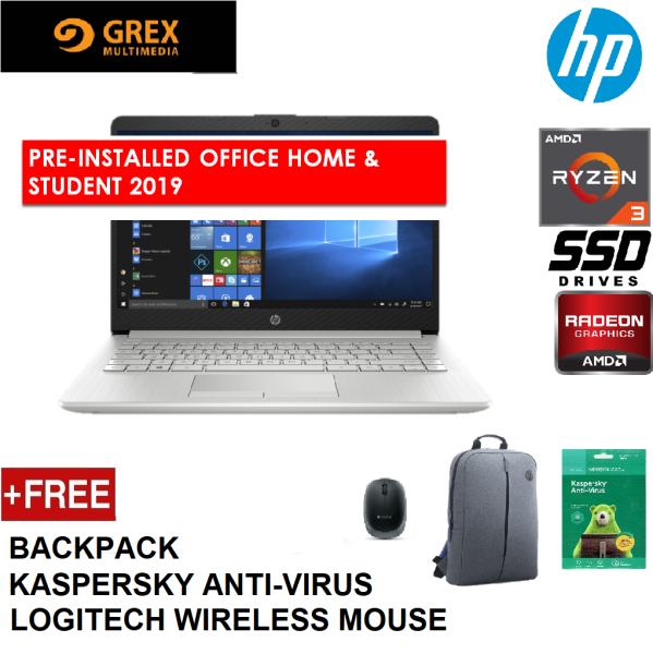 HP 14S-DK0024AX (GOLD) / 14S-DK0022AX (SILVER) LAPTOP (RYZEN 3 3200U,4GB,256GB SSD,14 HD,RADEON 530 2GB,WIN10) FREE BACKPACK + PRE-INSTALLED OFFICE H&S 2019 Malaysia