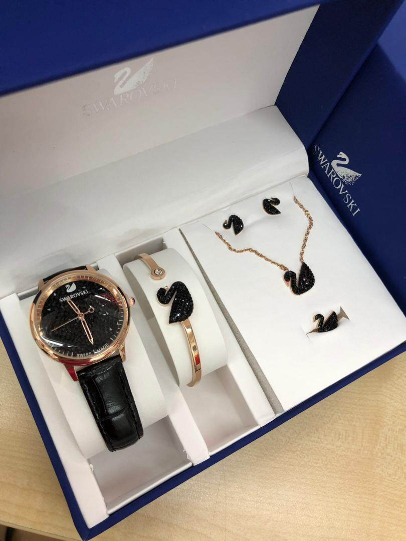 Original Swarovski Crystalline Hours Swiss Made Lady Watches Full Set with Bracelet_Necklace_Ring_Earrings Malaysia