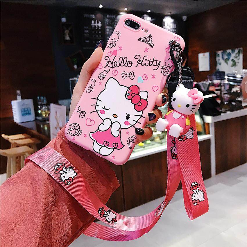 For VIVO Y71 Y91 Y95 V7 Y85 V7 Plus Y79 Y83 Y81 Case 3D Cute Cartoon Hello  Kitty Phone Case Soft Silicone Pink Case with Holder Stand Lanyard