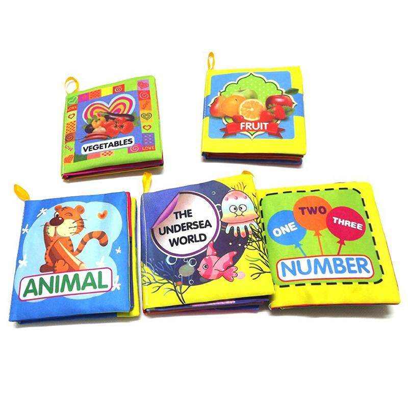 Set of 5 Baby Soft Cloth Book for Learning Animals Numbers Vegetables Fruit and The Undersea World Toddler Educational Fabric Book