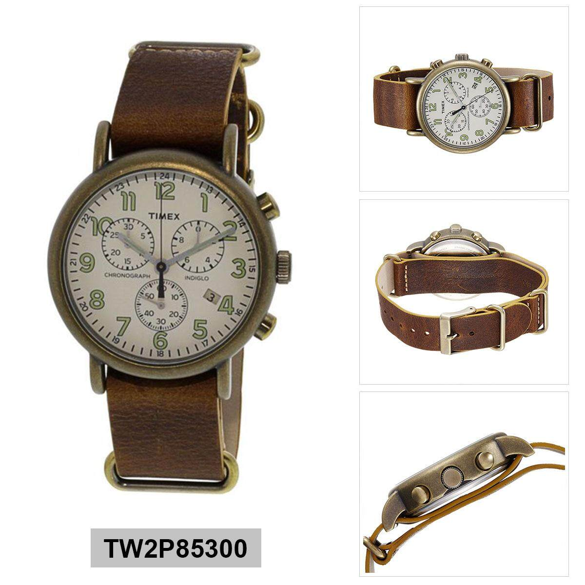 594d3bcb8 Timex Weekender Chronograph Brown Stainless-Steel Case Leather Strap Mens  TW2P85300