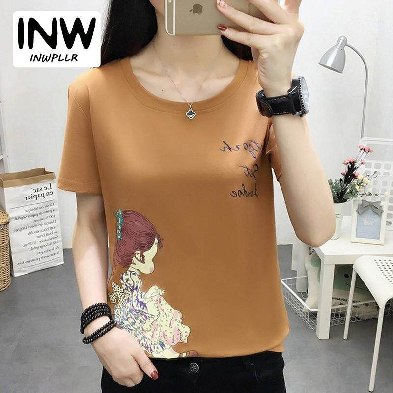 INWPLLR Women s Fashion Tops Summer Korean-style T Shirt For Women Casual  Girl Print Tshirt 8a04bf47d6ac