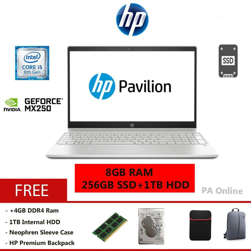 HP Pavilion 15-cs2010TX  -Intel Core i5-8265U/8GB or 16GB/256GB+1TB HDD/15.6 FHD/NVD MX250 2GB/2 years Warranty/Windows 10 Malaysia