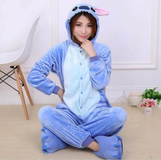 Yika Stitch Piyama Uniseks Dewasa Kostum Cosplay Onesie Baju Tidur S-Xl (biru) By Yikahome.