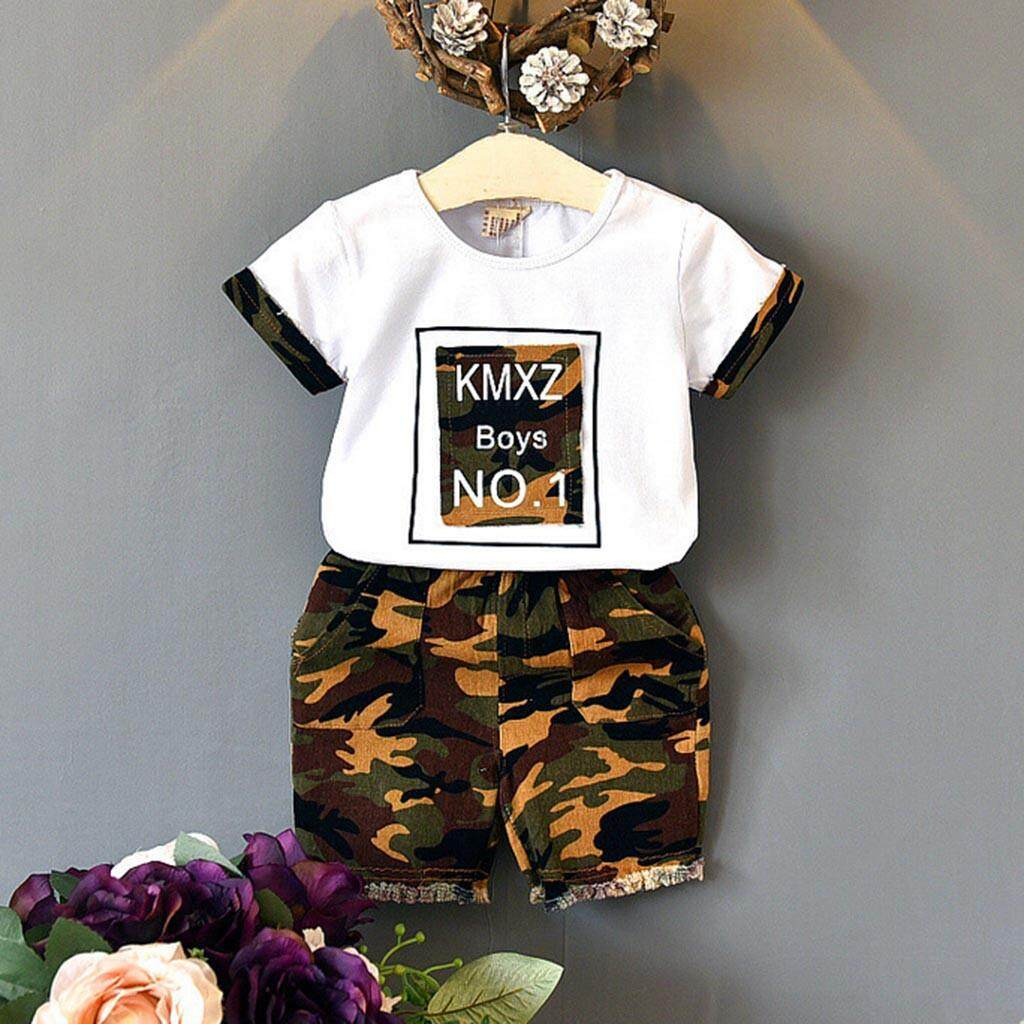 Warmihome Toddler Kids Baby Boys Outfits Clothes T-Shirt Tops+camouflage Shorts 2pcs Set By Warmihome.