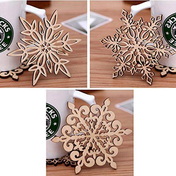 10pcs Three Retro Hollow Style Wooden Carved Snowflower Coasters Cup Mat Table Mat Home Supplies By Sunnny2015