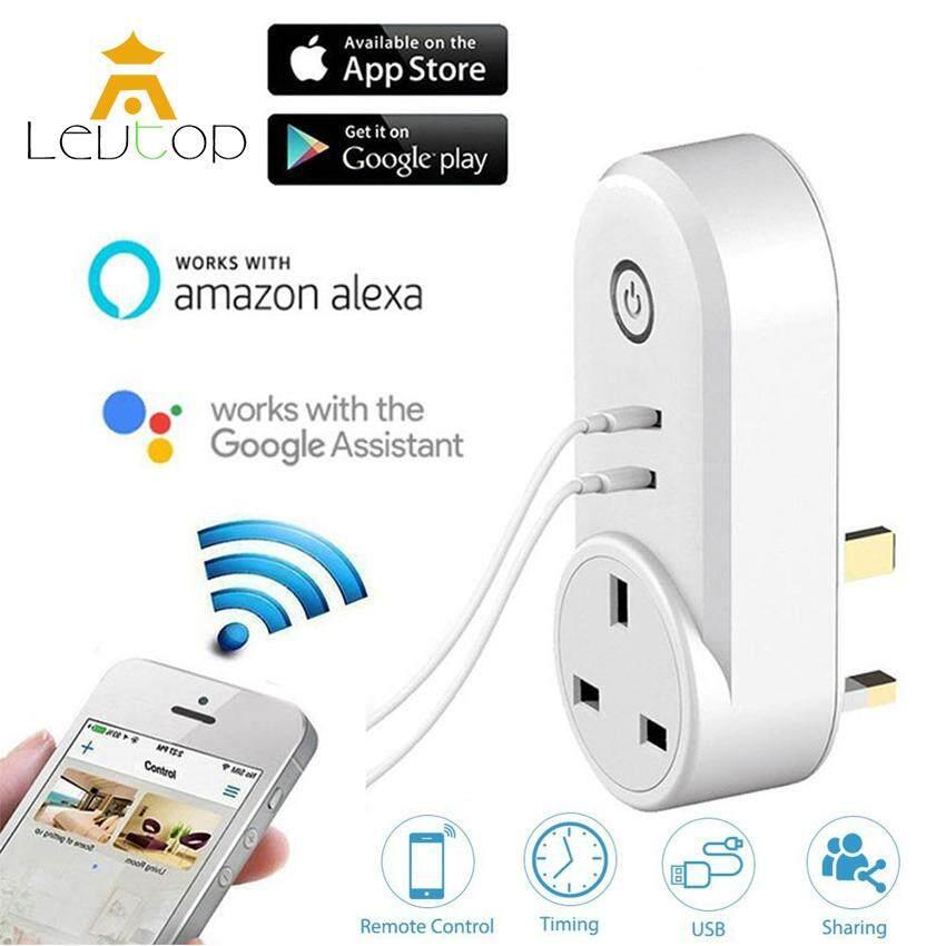 LEVTOP WiFi Smart Socket Plug App Remote Control Switch Power Plug Socket Smart Wall Plug Socket Outlet with Dual USB Port & Timing Timer for Smart Home UK Plug