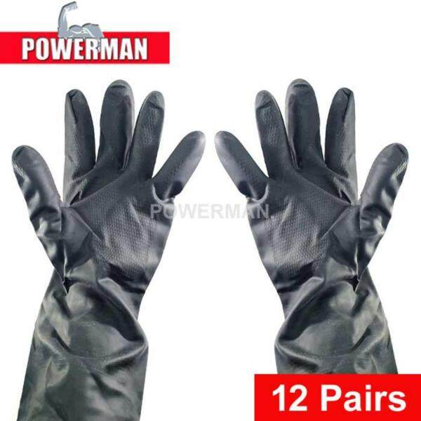 ELEPHANT BLACK INDUSTRIAL RUBBER HAND GLOVE - 12 PAIRS