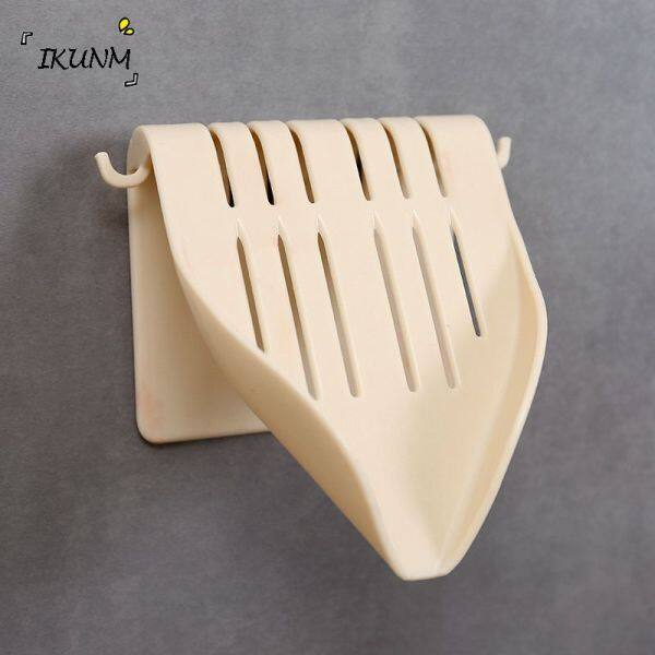 IKUNM-- Creative Drain Soap Box Sucker Soap Holder Dish Bathroom Storage Box Storage Plastic Tray Shelf Without Perforating Wall Mount
