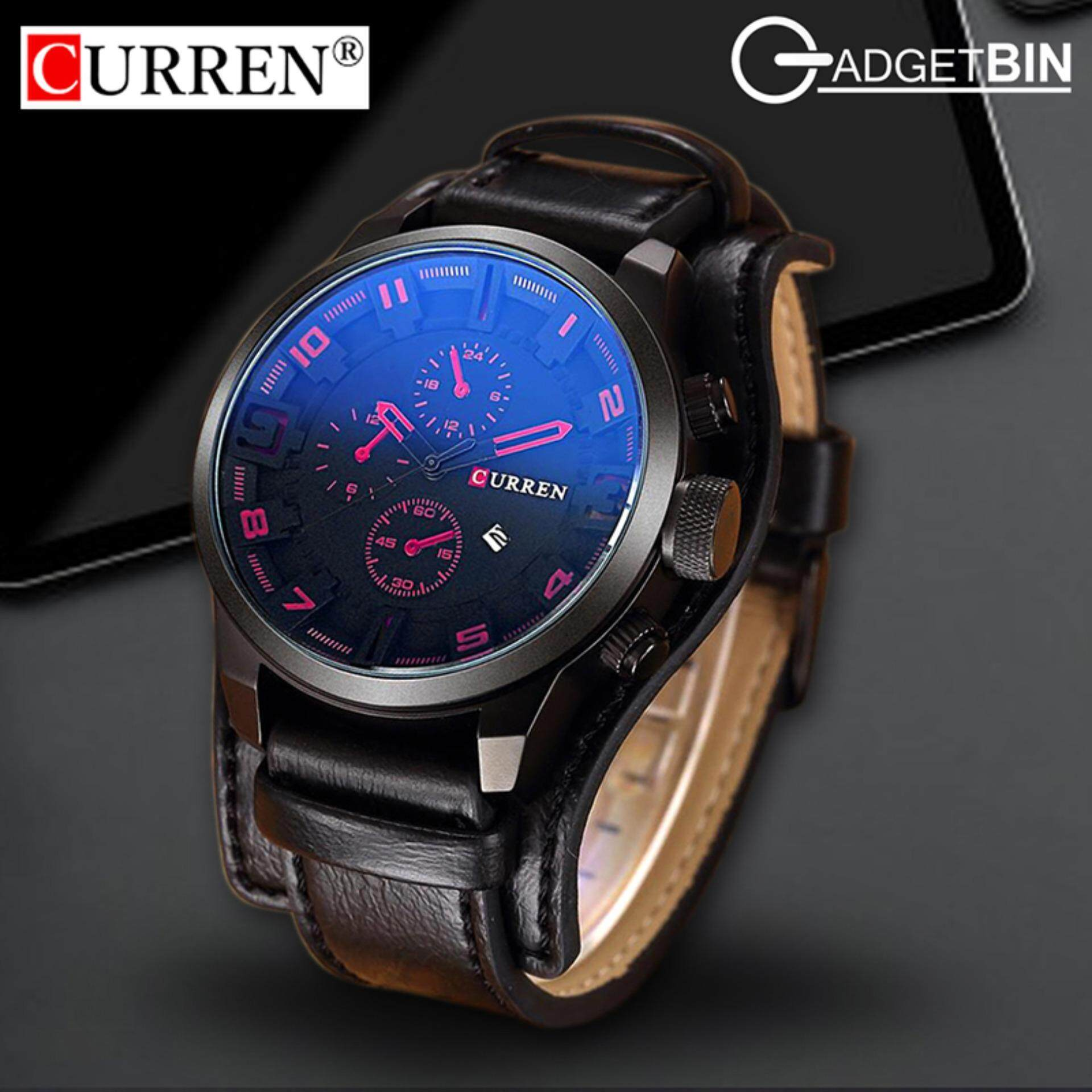 Original CURREN 8225 Mens Sports Full Leather Strap Date Watch- Red Black Malaysia