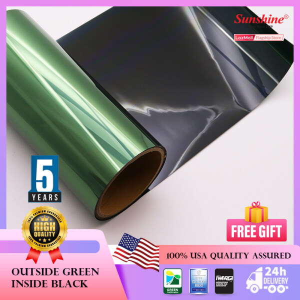*Free Tools - Green Out, Black In (3ply) (P), 5 feet X 5 feet, 5 feet X 10  & 5 feet X 25 feet Window Tinted Film For Commercial and Residential