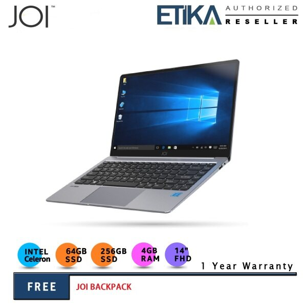 JOI Book 155 Pro 14 IPS FHD Dark Grey Slim Laptop (Celeron N4120/ 4GB/ 256GB SSD + 64GB/ W10 Pro) - Free Backpack Malaysia