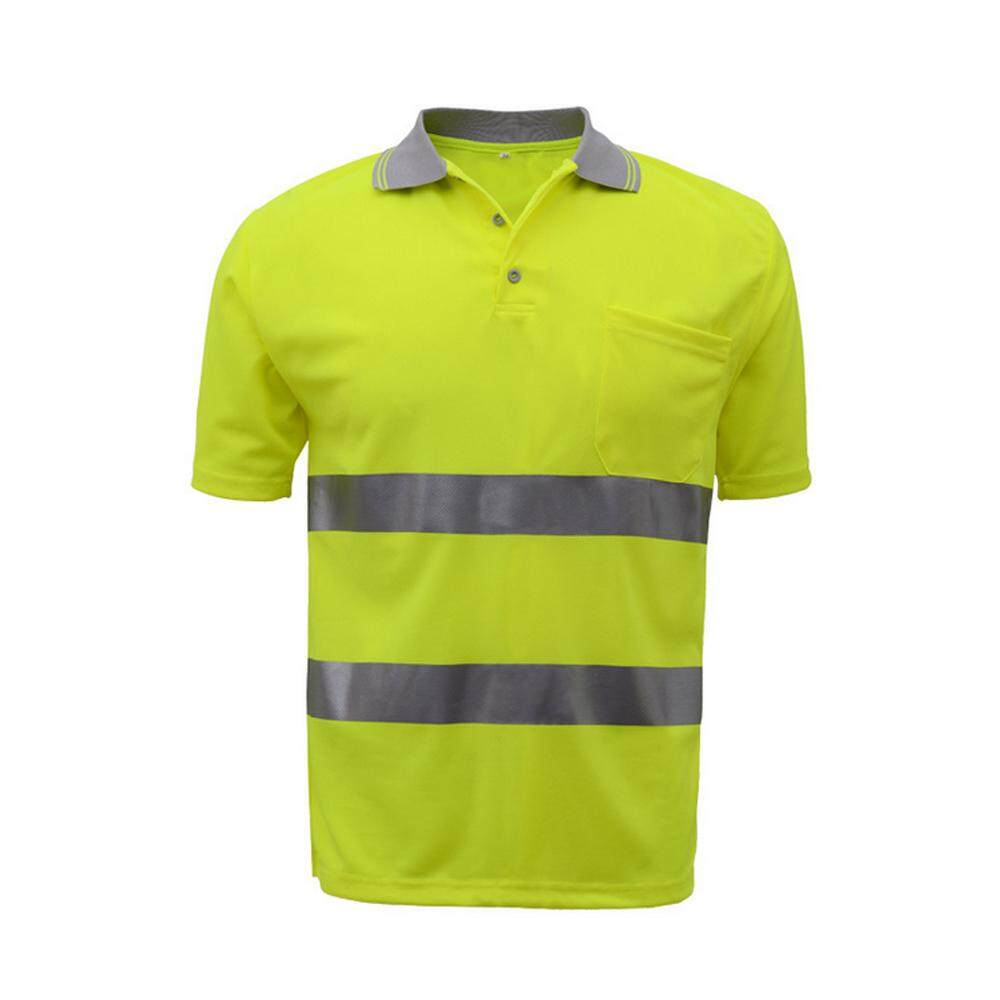 SFVest Safety Reflective Shirt High Visible Short Sleeve Pocket T-Shirt Silver Reflective Tapes Mens Moisture Wicking Safety Shirt Working Clothes