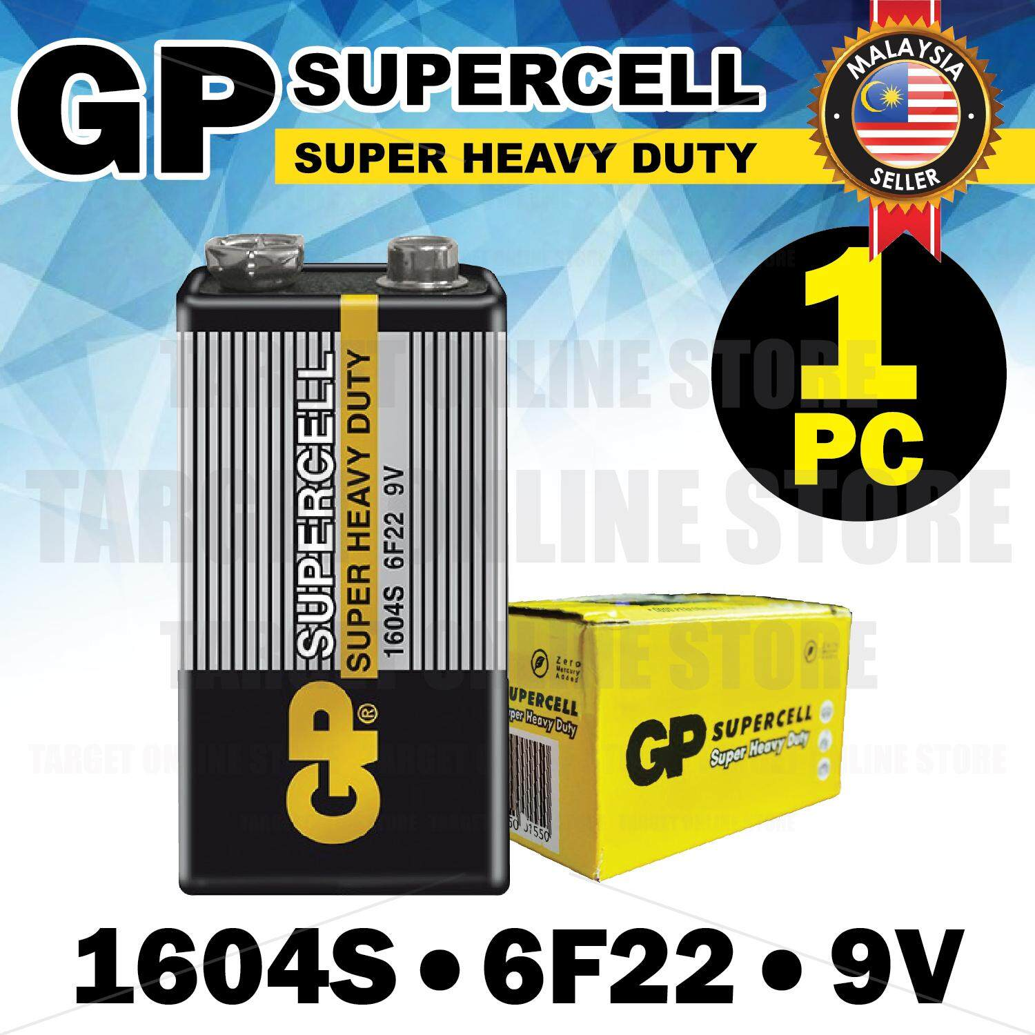 GP SUPERCELL Super Heavy Duty 1604S 6F22 9V Battery Batteries 1 PC
