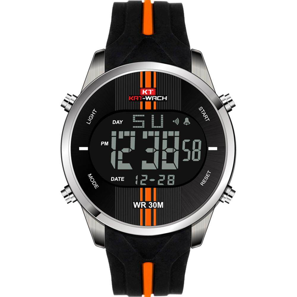 6113f337d KAT-WACH Luxury Japanese Digital Movement Watches For Men Silicone Strap  Auto Date Complete Calendar