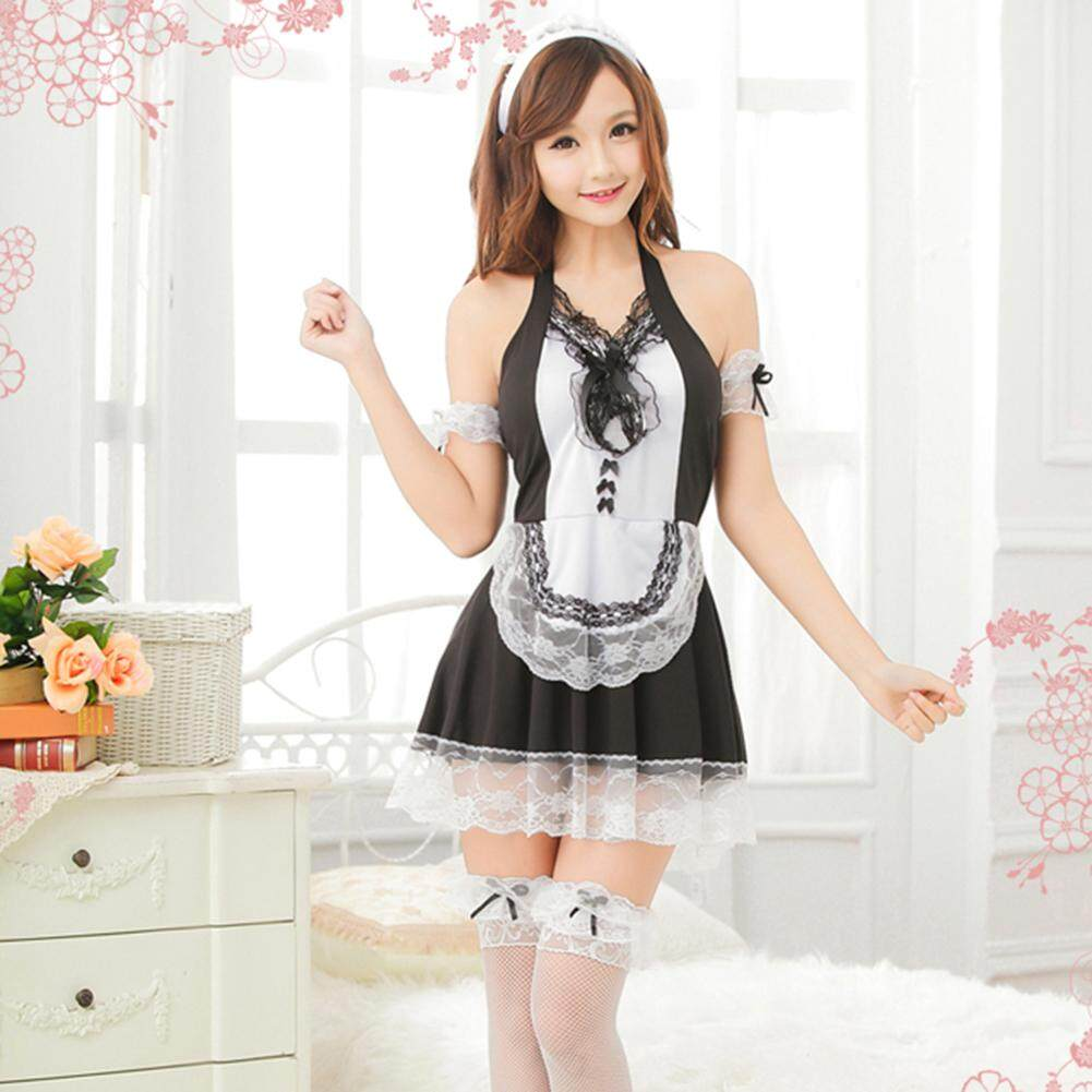 [CHUANGYOU]Women's Backless French Maid Costume Satin Halloween Fancy Halter Dress