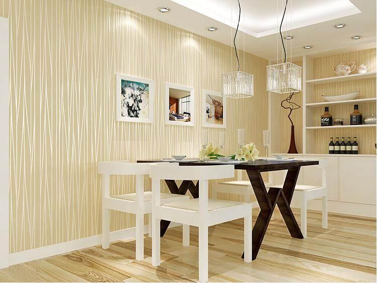 Nordic simple plain solid stripe non-woven wallpaper
