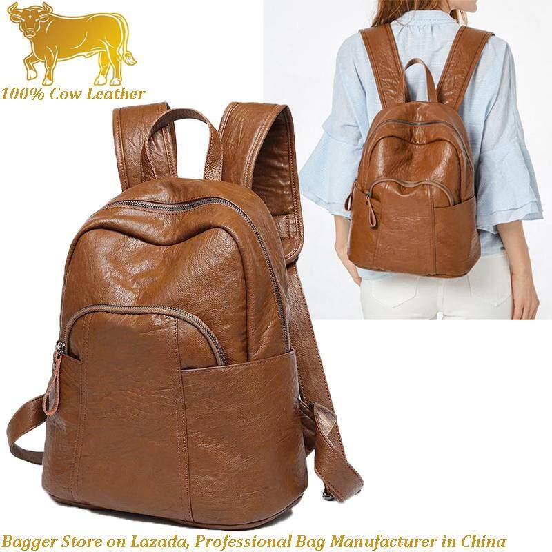 a2ec8baa24ff0 2019 New Cow Leather Cowhide Backpack Girl Korean Style Soft Bag Leisure  Travel Travelling Backpacks For
