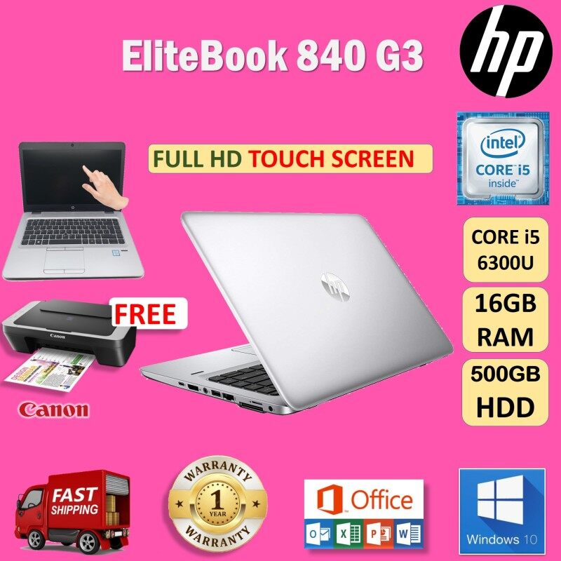 (FULL TOUCH SCREEN) HP ELITEBOOK 840 G3 - CORE i5 6300U / 16GB DDR4 RAM / 500 GB HDD/ WINDOWS 10 PRO / REFURBISHED / 1 YEAR WARRANTY Malaysia