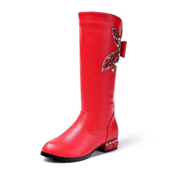 Giá bán Giày Trẻ Em Mùa Đông Cho Bốt Đi Tuyết Kích Thước 28-40 Cô Gái Giày Ống Ống Lửng Phiên Bản Công Chúa Trẻ Em Giày Bốt Thời Trang Giữa Bắp Chân Tua Rua