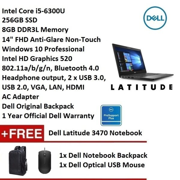 Dell Latitude 3470 (i5-6300U, 8GB, 256GB, 14 FHD, W10P, 1 Yr Official Dell Warranty) Business Ultrabook Notebook [Dell Refurbished Unit 99% NEW] Malaysia
