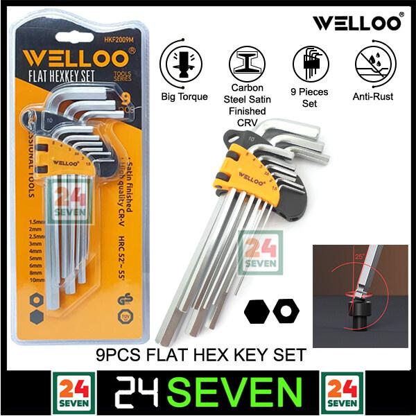 [ READY STOCK ] Welloo 9pcs Allen Key Flat Hex Key Set Carbon Steel Satin Finished CRV