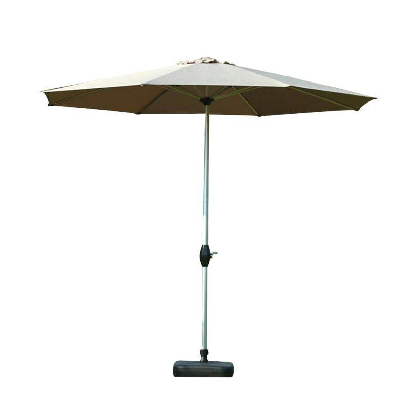 LEDMOMO 2.7M Outdoor Market Patio Umbrella Table Umbrella with Push Button Tilt and Crank All Iron(No Base Khaki)