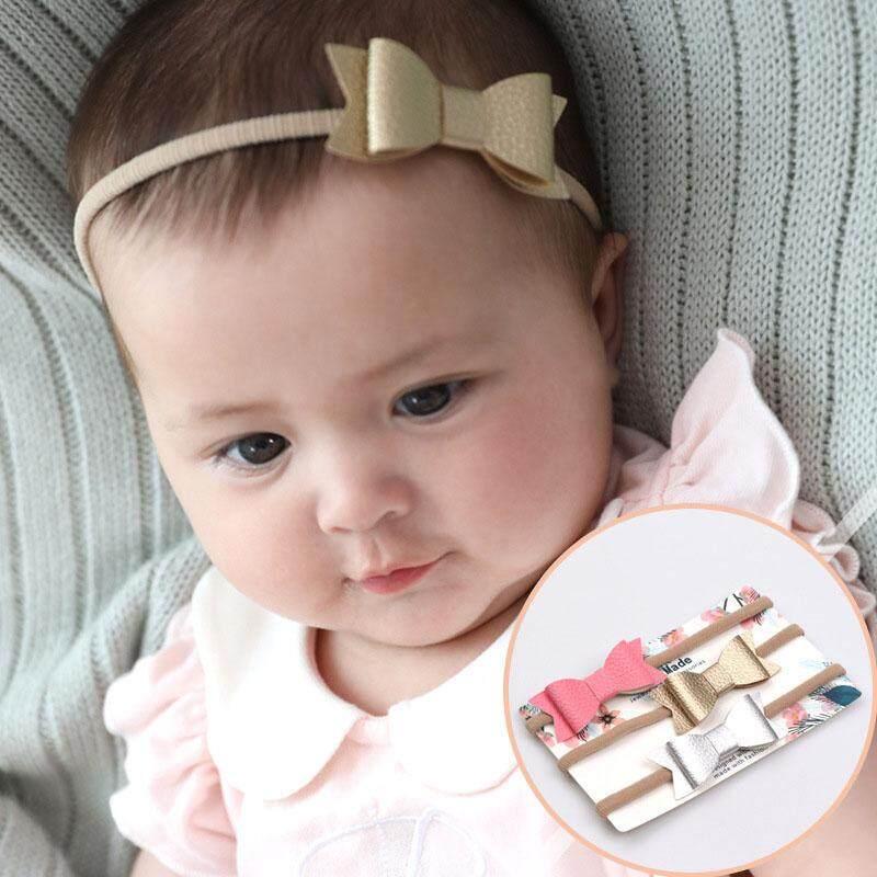 3pcs//Set Cotton Solid Headband Striped Rabbit Ears Bows Hairband For Girls Kids