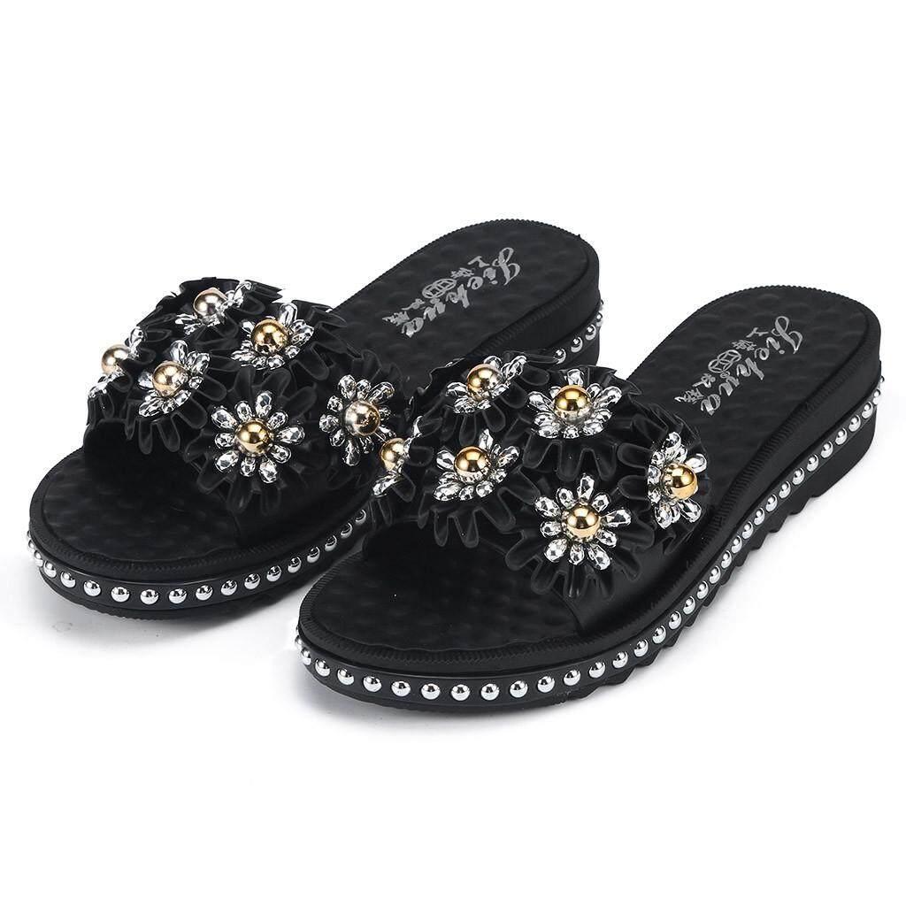 Moniment Mode untuk Wanita Bunga Sandal Pantai Pijat Nyaman Non-slip Sendal Kasual, Sepatu