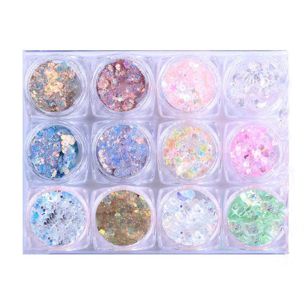 Eyes Makeup Mix Pots Face Glitter Cosmetic Body 12 Color Art Sequins DIY Decoration Eye Shadow