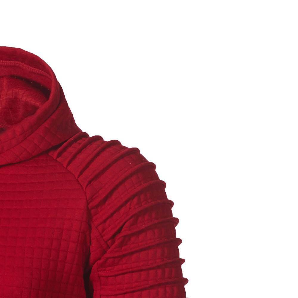 US Men Autumn Long Sleeve Plaid Hoodie Hooded Sweatshirt Top Tee Outwear Blouse