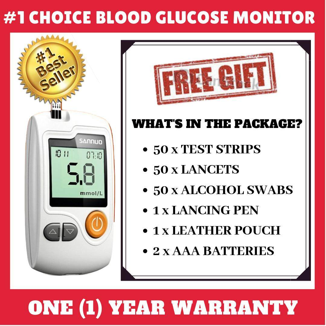 [genuine] Sannuo Ga-3 Portable Glucometer Glucose Meter - Blood Glucose Monitor Device And Free 50 Test Strips + Lancets By Reanneq Solutions.