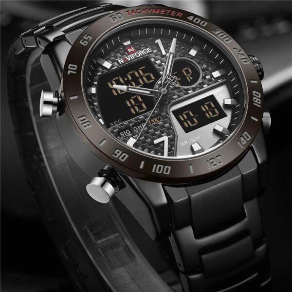 NAVIFORCE Top Brand Mens Watches Fashion Sport Quartz Men LED Digital Chronograph Watch Men Full Steel Casual Waterproof Clock Malaysia