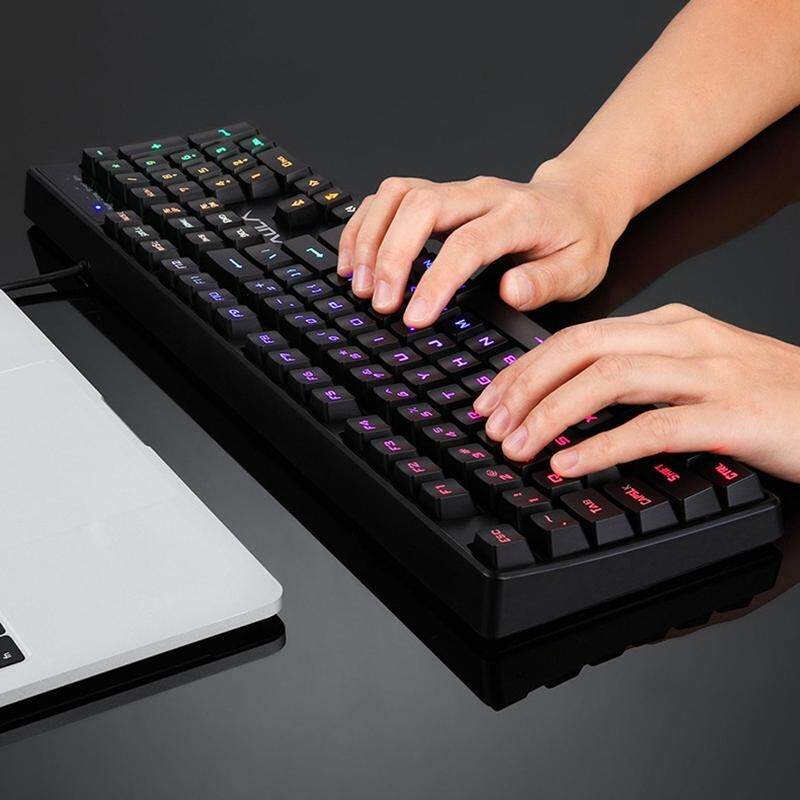 AULA F2000 DC 5V 105-keys Resist Water Splash Laser Character Six-segment Colorful Backlit Gaming Office Wired Keyboard, UK Version (Black) Singapore