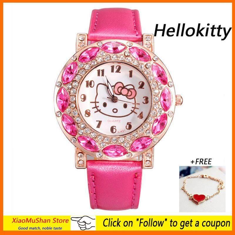[Free Bracelet]XiaoMuShan Store New Hellokitty Kids Watches Fashion  Quartz Wristwatches For Lovely Girls Malaysia