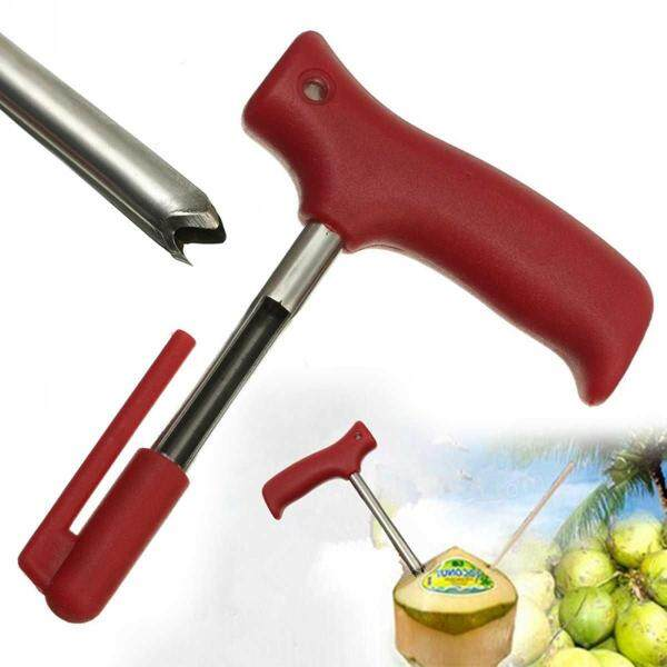 New Stainless Steel Red Handle Coconut Opener Punch Driller Cut Drill Hole Tools