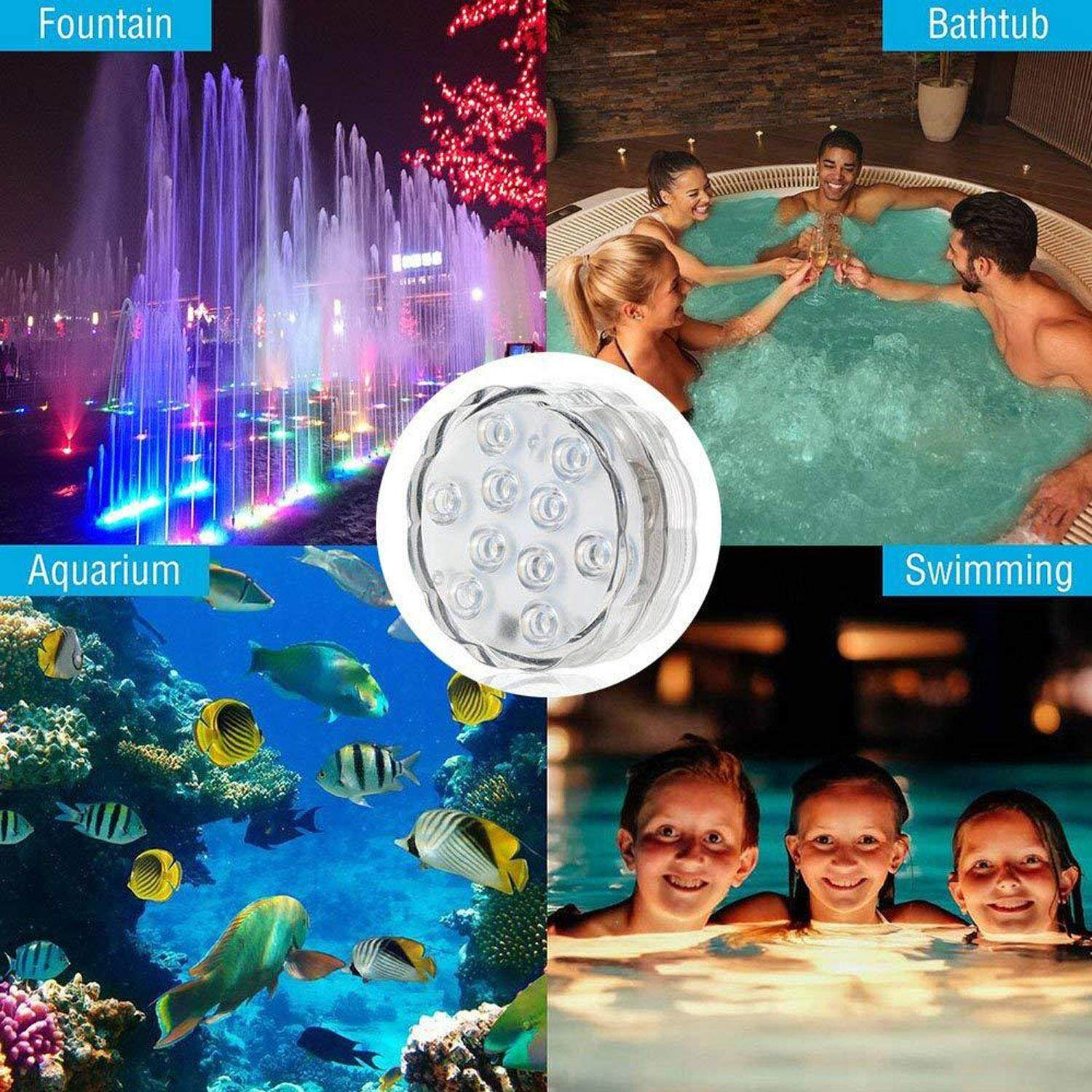Vococal 4pcs 10-Led Battery Operated Underwater Submersible Lights + 4pcs Remote Controls For Aquarium Vase Flower Pot Pond Pool Waterfall Bathroom By ...