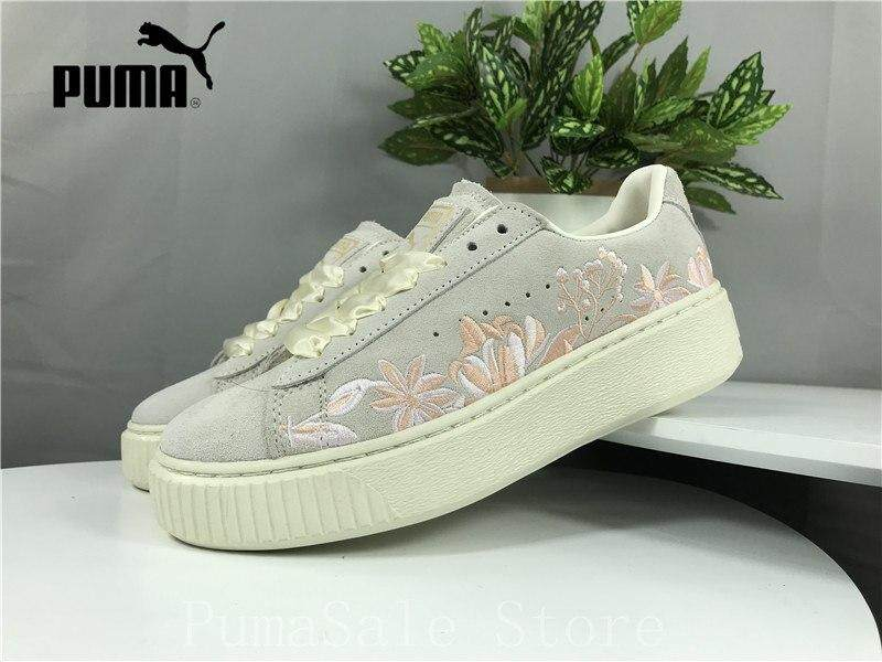 cde71b72e1b9 Fashion 2019 Pum Suede Platform Women Shoes Lace-up Closure Women Sneakers  Embroidery Thick Bottom