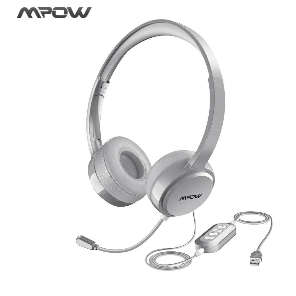 MPOW Stereo Audio USB Headset with Noise-Reducing Microphone for PC Gaming Mac