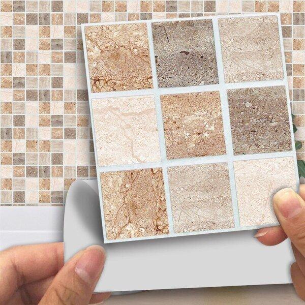 18pcs/set 3D Wall Stickers Mosaic Stick On Self Adhesive Wall Tile Stickers Anti Oil Kitchen Bathroom Decorative Plane Stickers