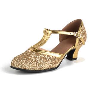 Womens T-Strap Ballroom Dance Shoes Sequins Tango Salsa Party Dancing Shoes thumbnail